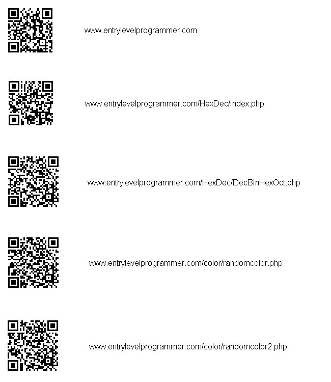 QR codes for EntryLevelProgrammer.com